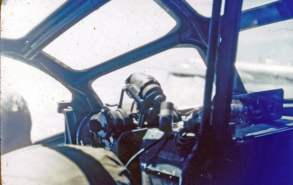 B-29 Nose Interior, Pacific War, 1945. Photo: ©Percy Tucker. All Rights Reserved