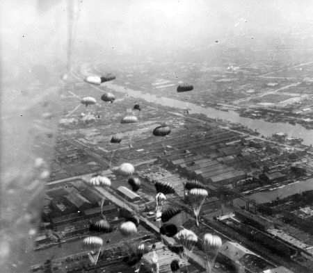 SUPPLY B-29 MISSION TO POW CAMPS. WAR OVER JAPAN, 1945. PHOTO provided by Les Morgan Jr. All Rights Reserved
