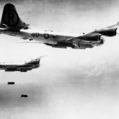 B-29s dropping 4,000 lb bombs. Photo courtesy of Sean Kelleher, All Rights Reserved.