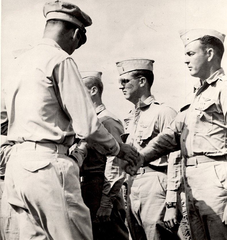 Brig. Gen. John H. Davies awarding DFC-29 March 1945 to Ralph C. Wilson