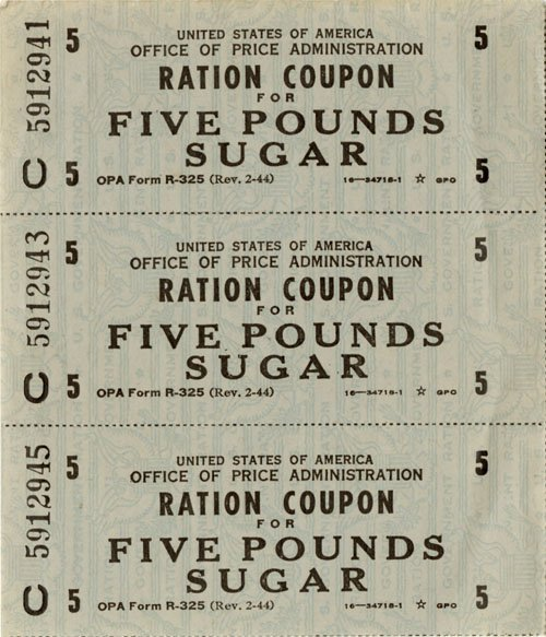 "WWII Rationing: ""coupon books"" given to each household."