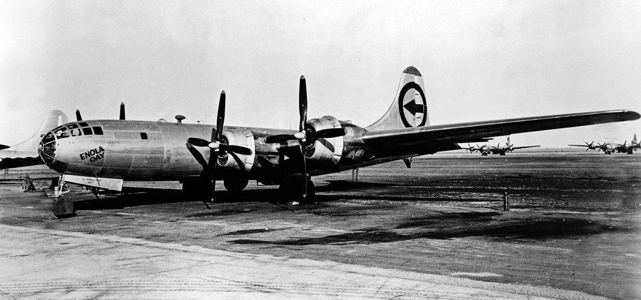 Original tail on the Enola Gay B-29, Tinian-Pacific War