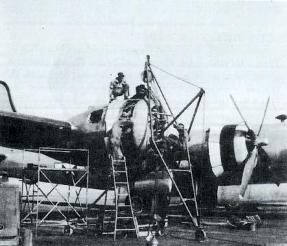40th Squadron Changes a B-29 Engine at Grand Island, Nebr