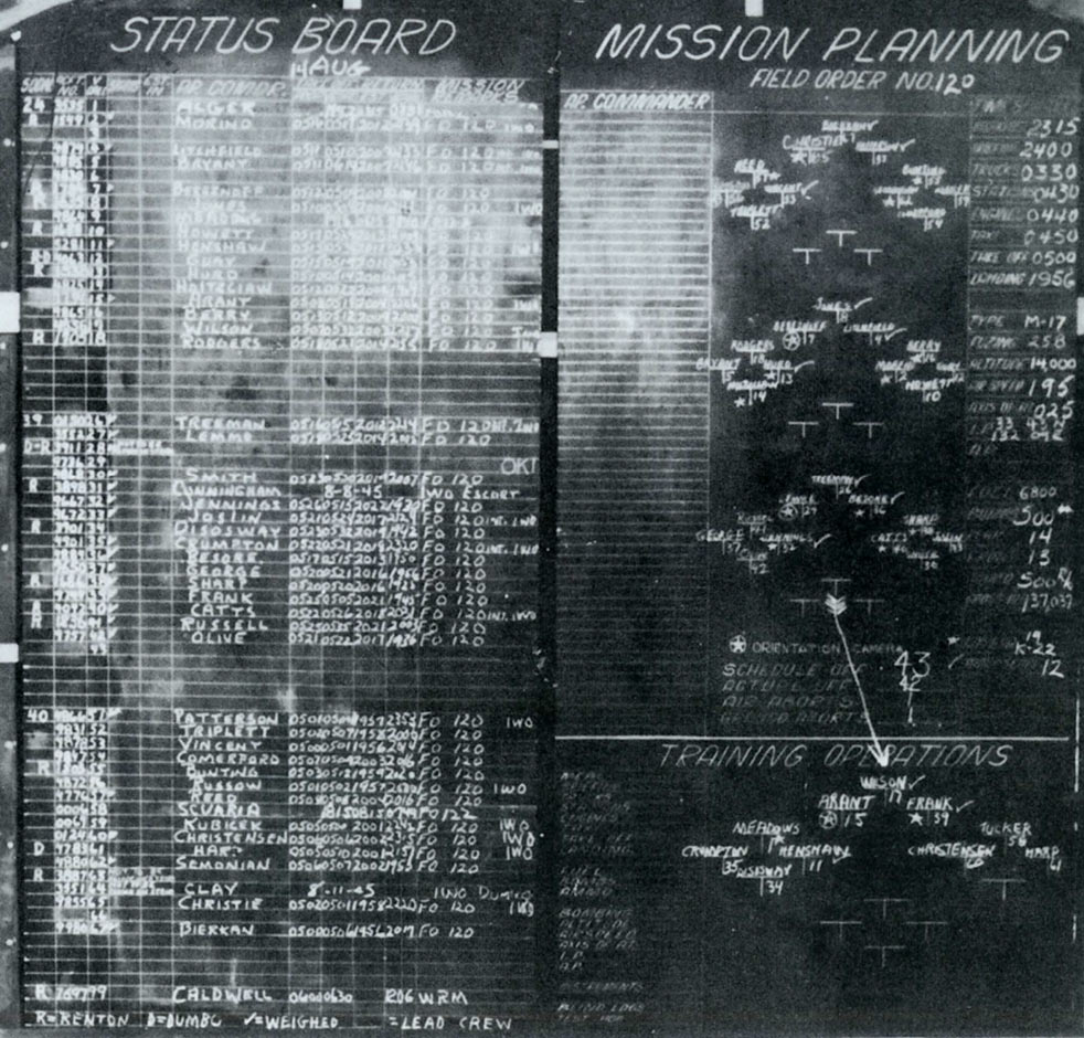 Mission Status Board in Briefing Hall - charts formations, Crews for last raid 14 Aug