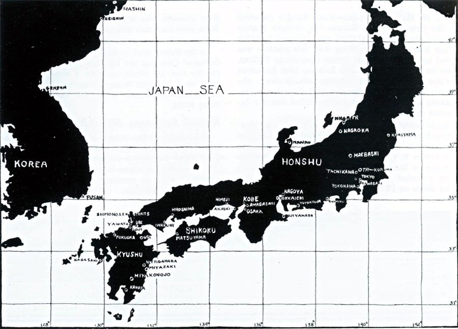 Map of Japan WWII