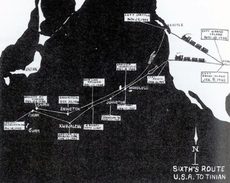 Map Shows Route of All Sixth Group Echelons Overseas.